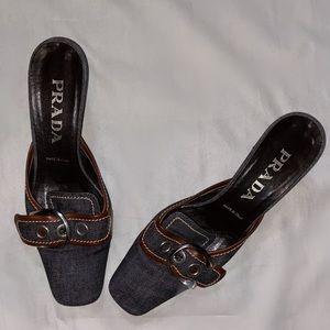 Prada heeled flats with buckle